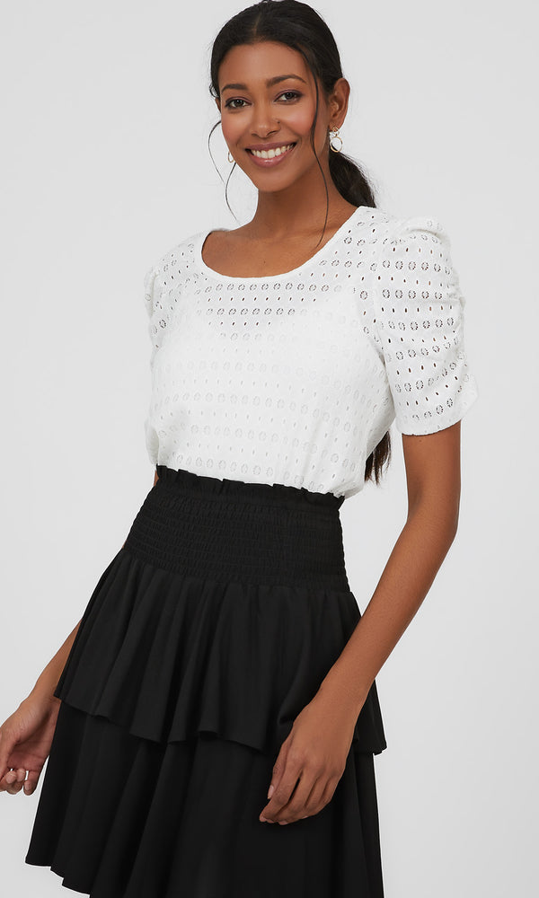 Ruched Sleeve Textured Eyelet Top