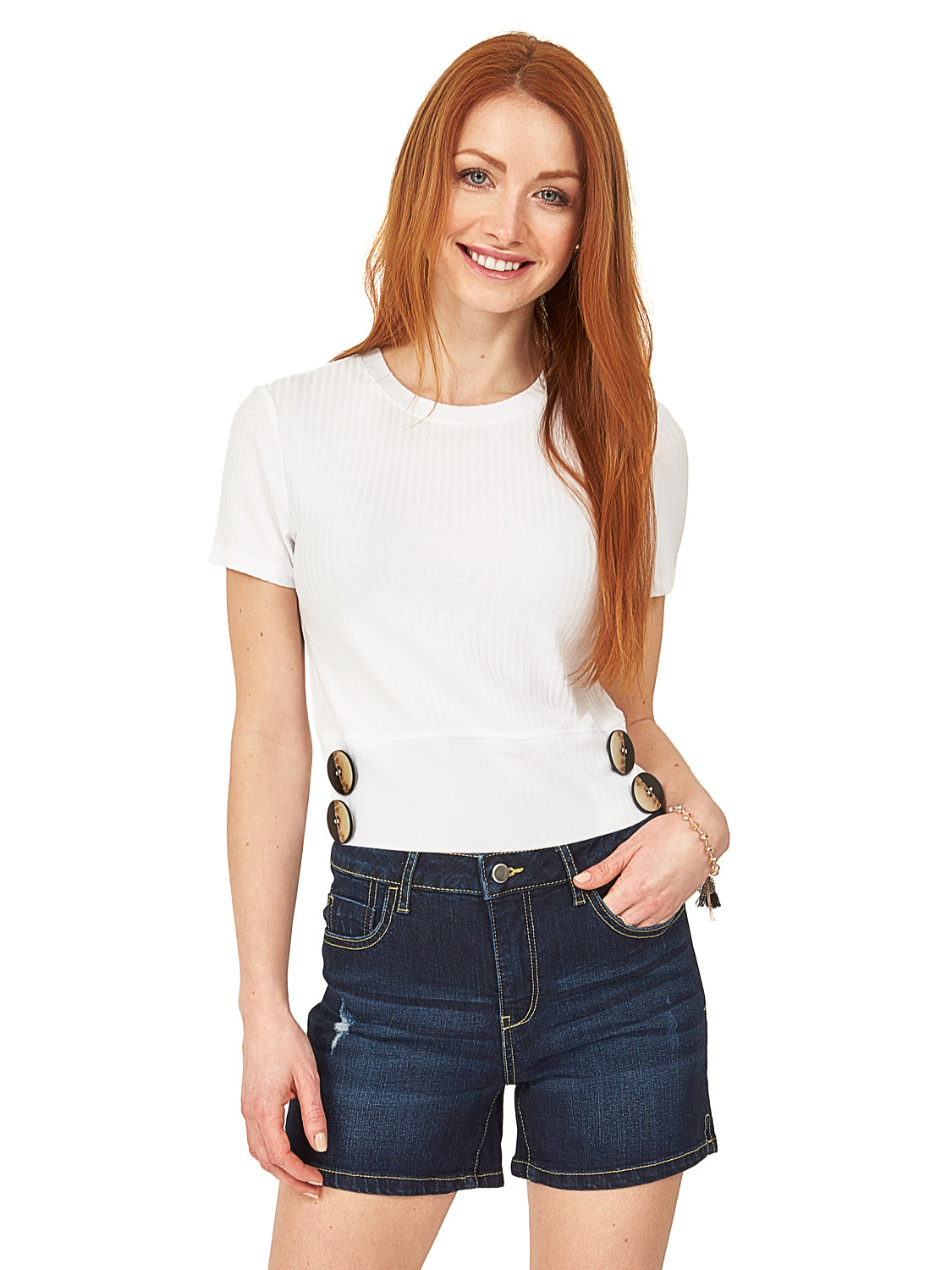Oversized Button Crop Top