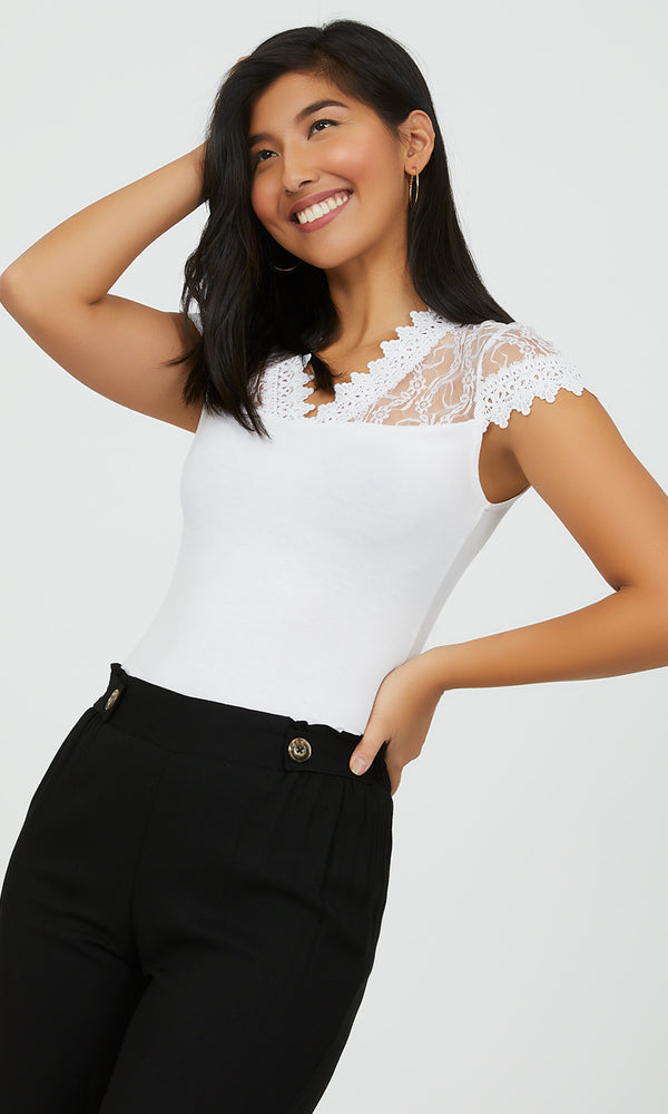 Cap Sleeve Lace & Crochet Top