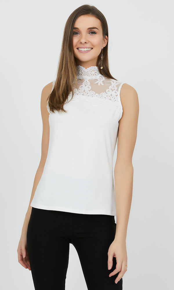 Embroidered Crochet Mock Neck Top