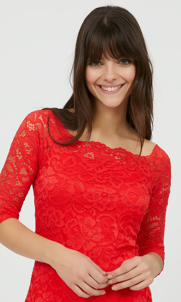 ¾ Sleeve Stretch Lace Top