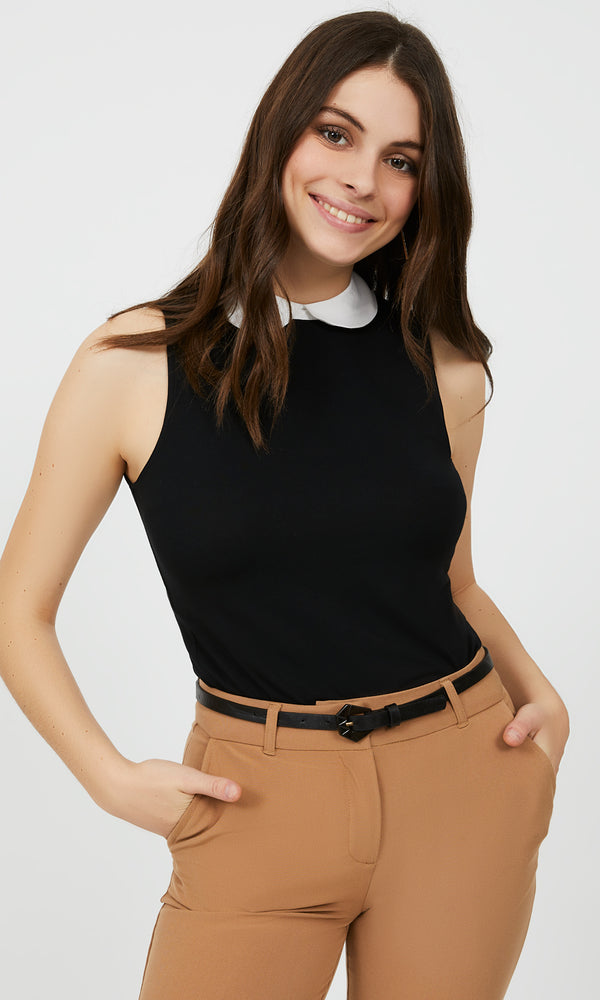 Sleeveless Peter Pan Collar Top