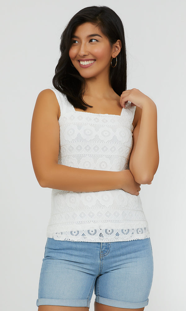 Embroidered Lace Square Neck Top