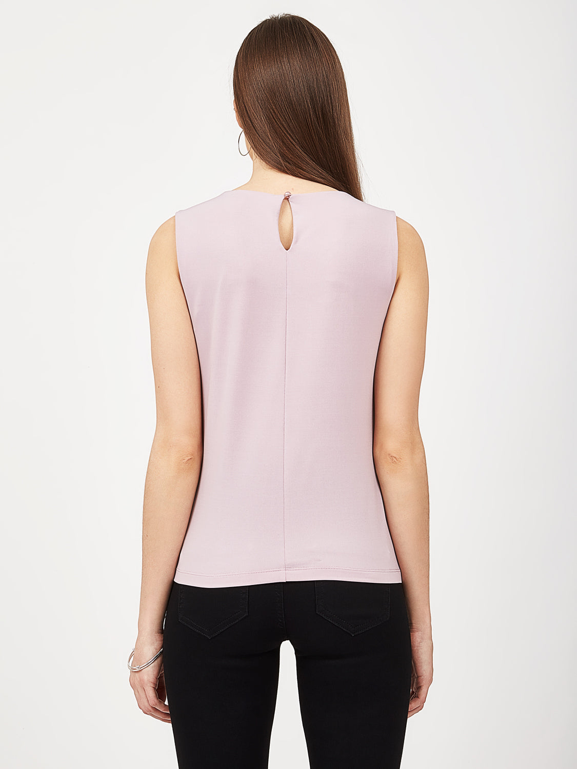 Sleeveless Pleated High Neck Top