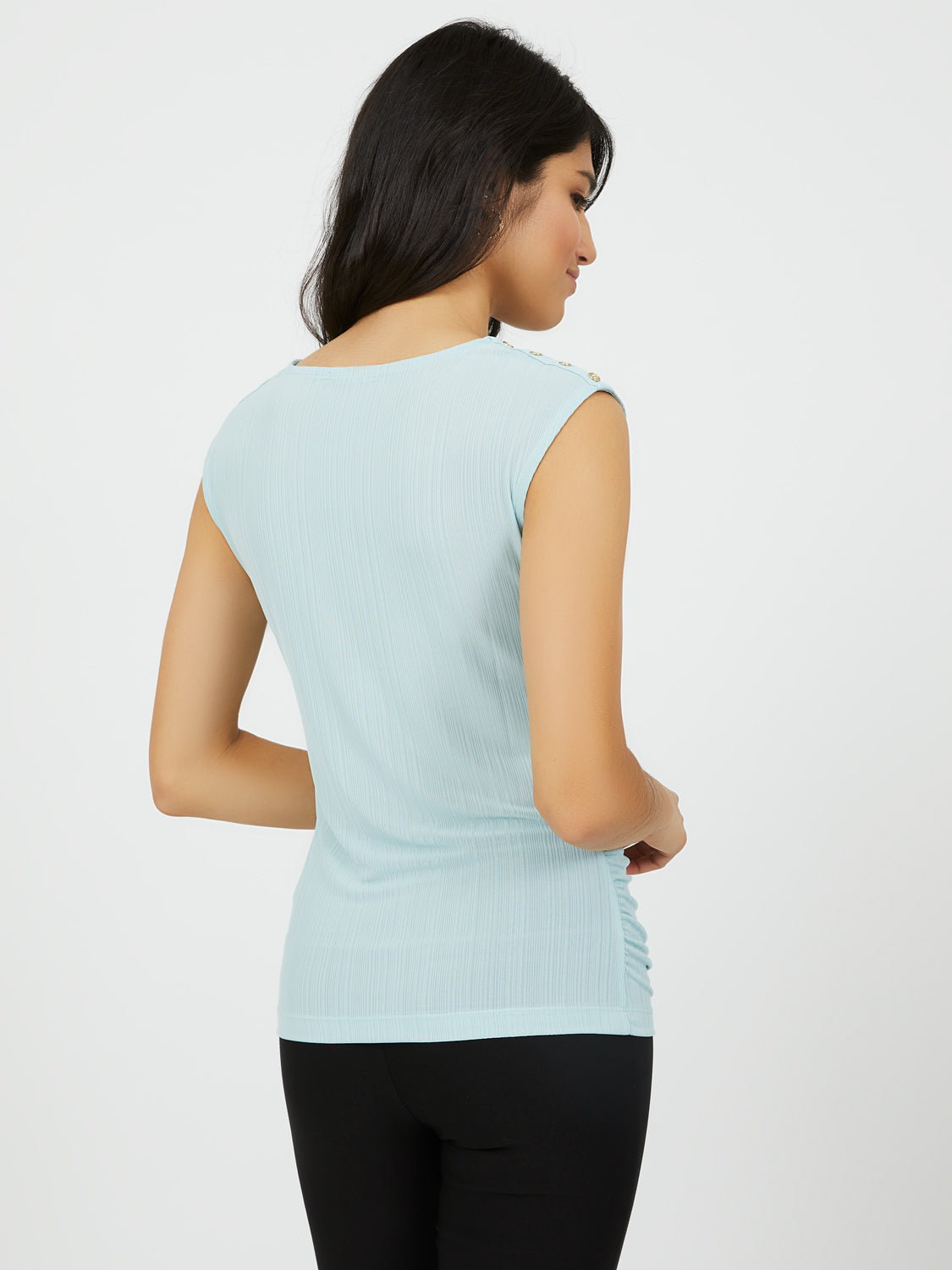 Variegated Rib Cap Sleeve Top