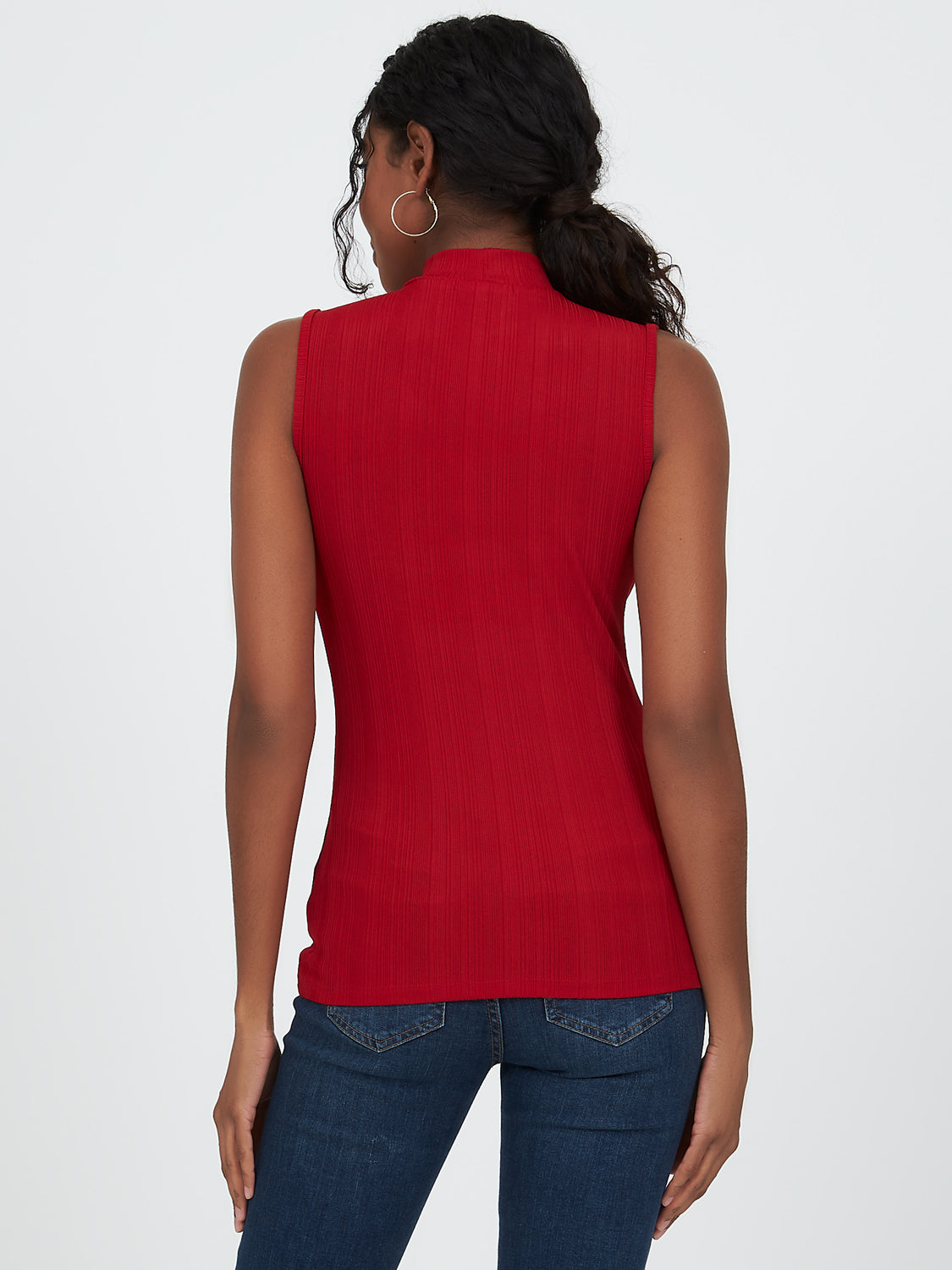 Sleeveless Variegated Rib Knit Top