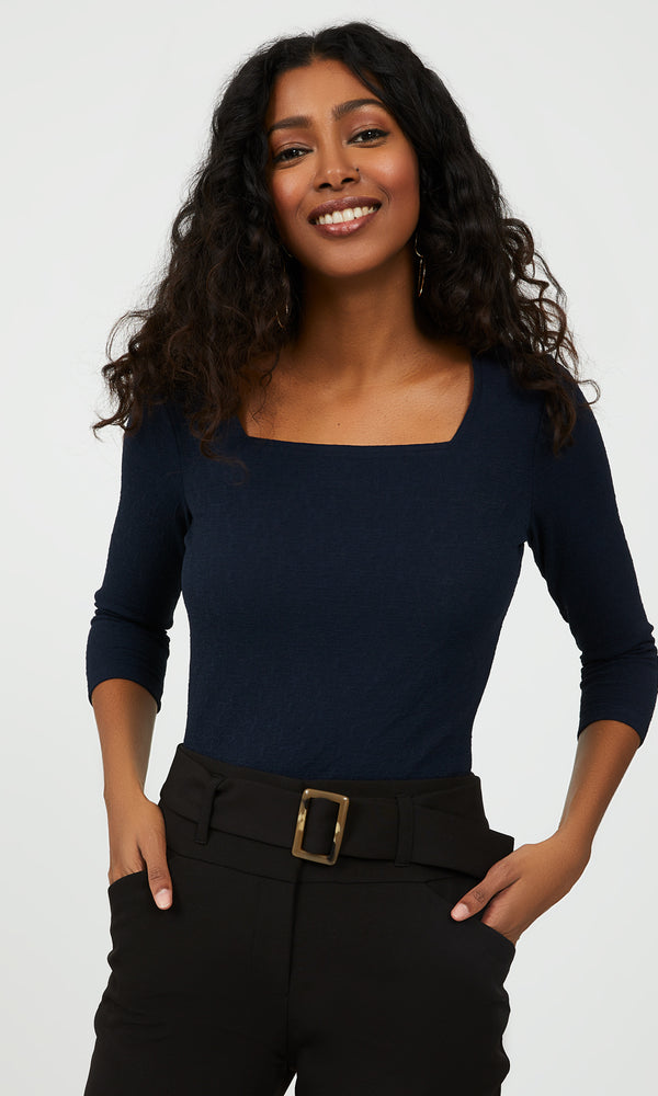 Textured Square Neck Top