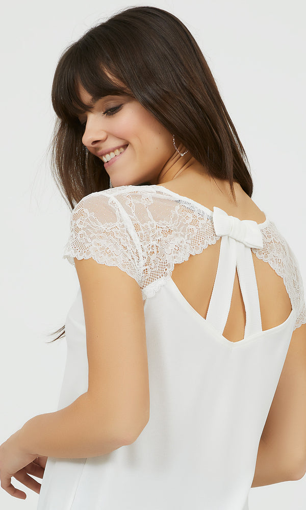 Lace & Crepe Top with Back Bow