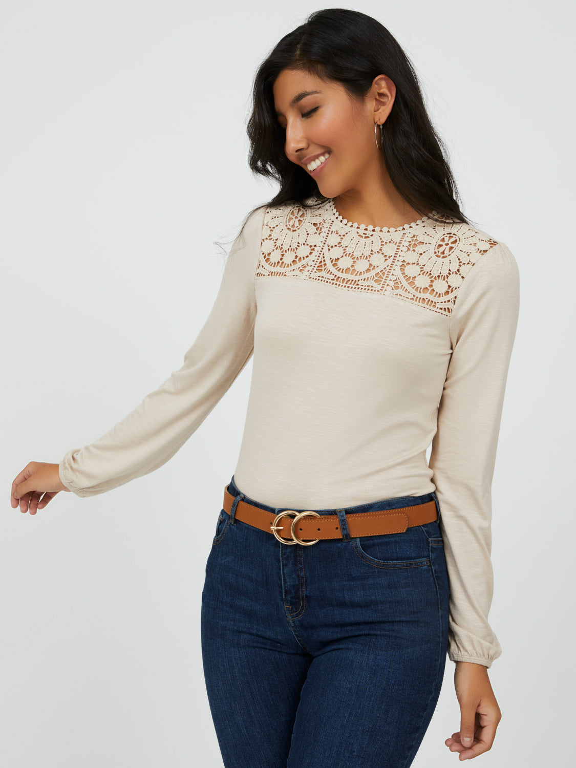 Puff Sleeve Crochet Top