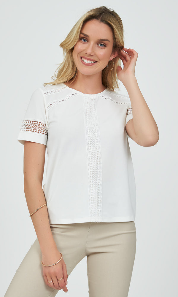 Short Sleeve Crochet Crepe Top