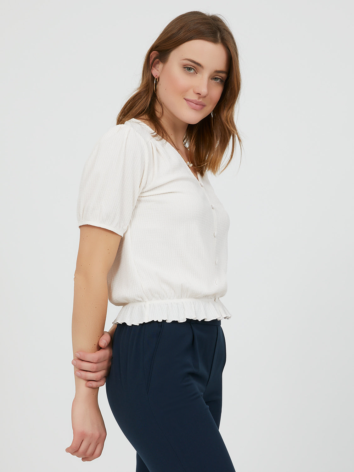 Short Puff Sleeve Button-Down Blouse