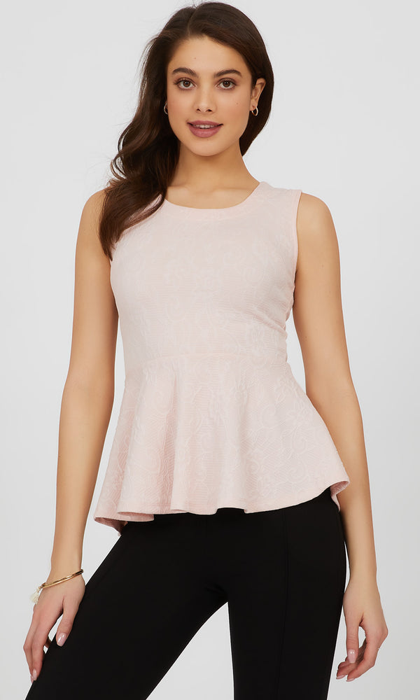 Sleeveless Flower Jacquard Knit Top