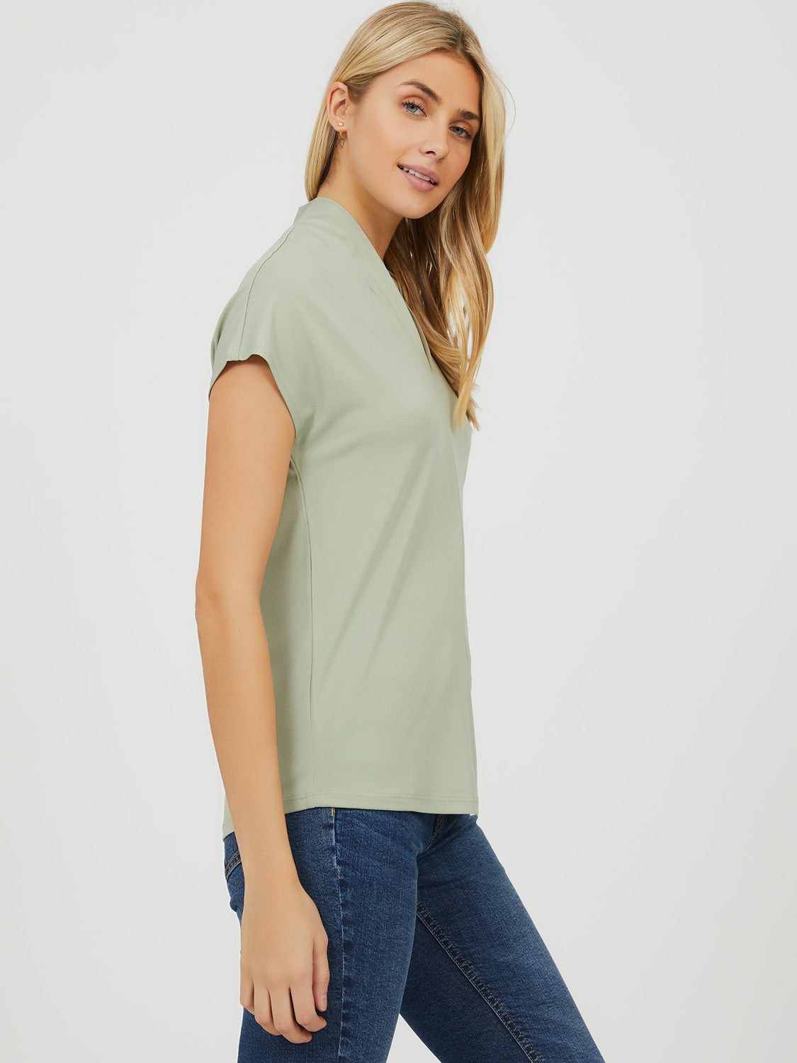 Pleated Crepe Knit Top