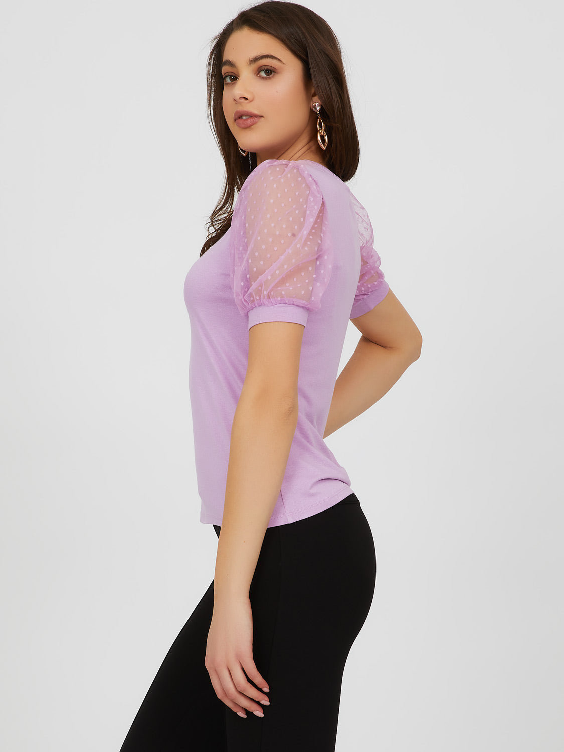 Swiss Dot Elbow Sleeve Crepe Knit Top