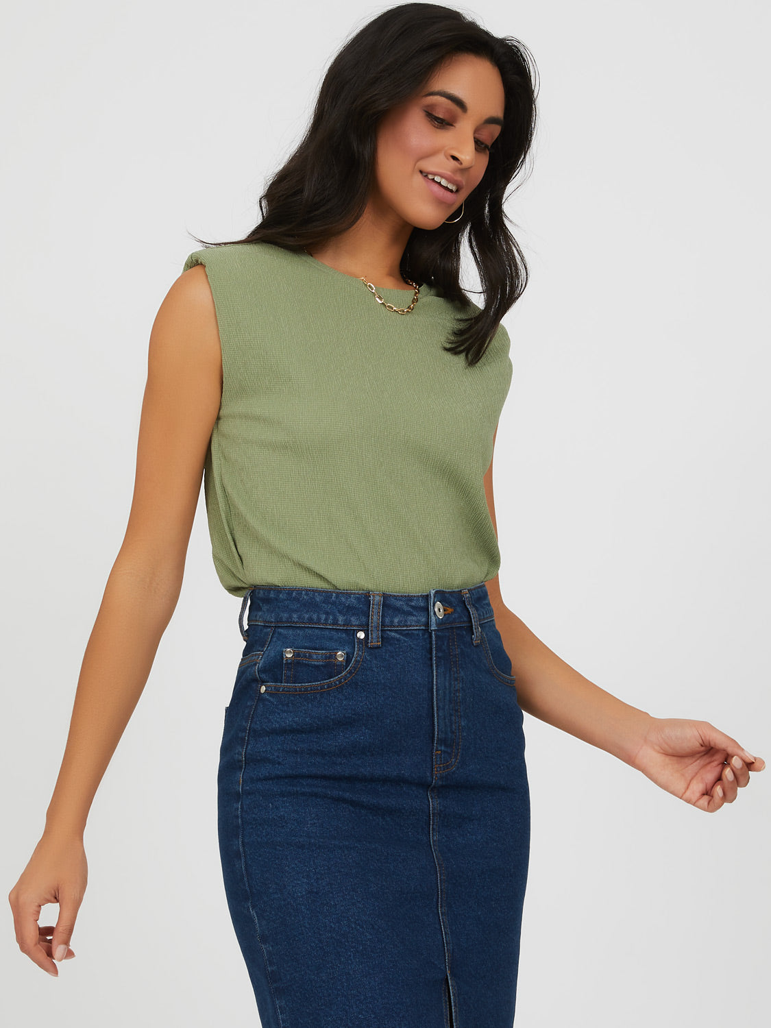 Shoulder Pad Textured Knit Top