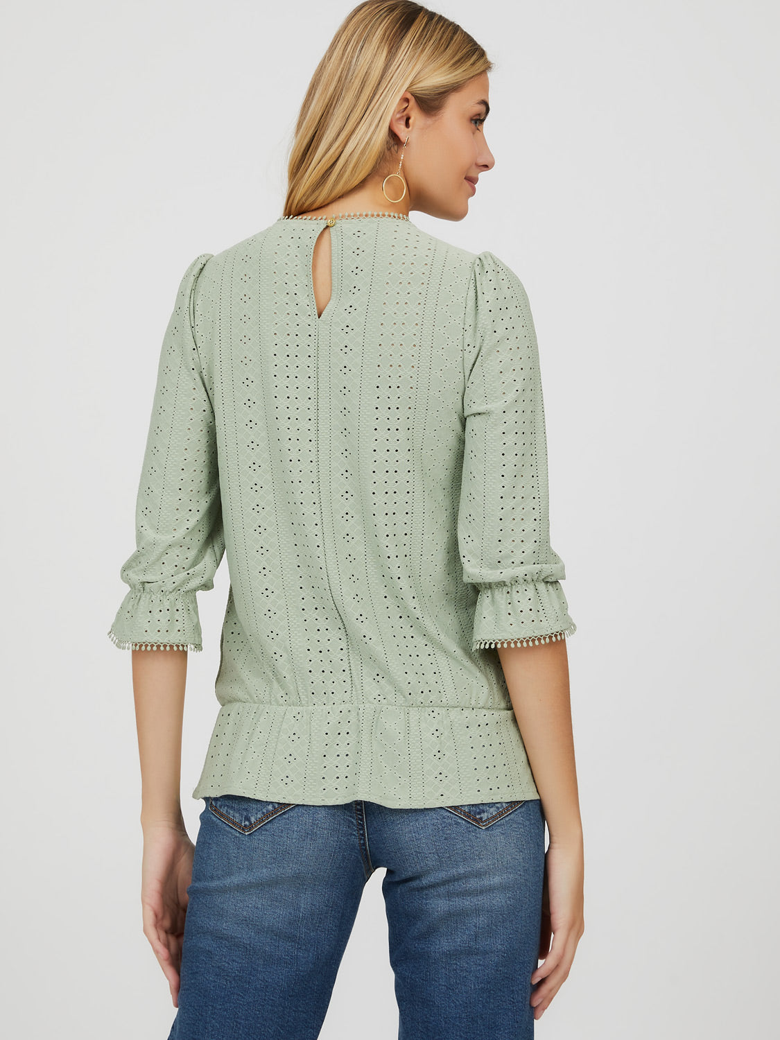¾ Sleeve Eyelet & Crochet Crew Neck Top