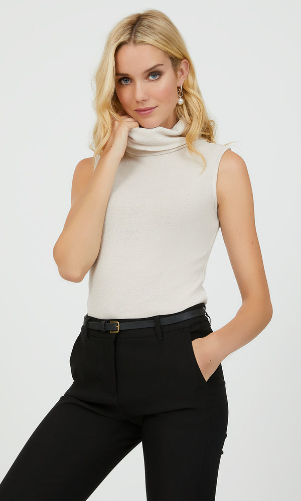 Sleeveless Sweater Knit Turtleneck Top