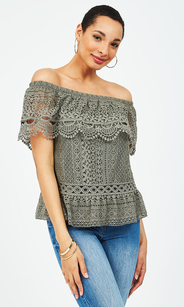 Off-The-Shoulder Crochet Lace Top