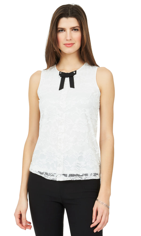 80441bf2f0485 Sleeveless Lace Bow Top Sleeveless Lace Bow Top