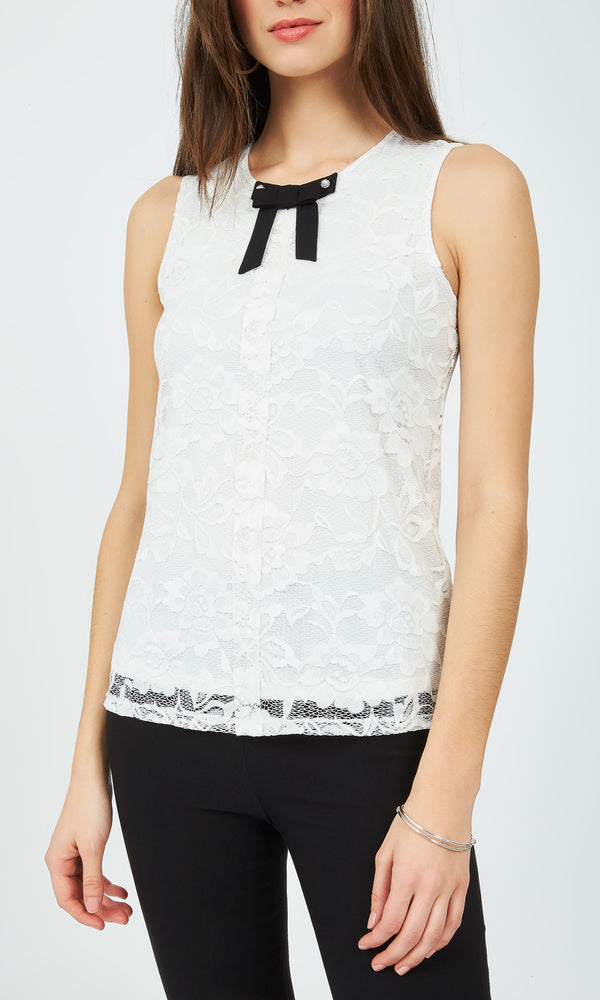 10e2f8fa9fcf4 Sleeveless Lace Bow Top ...