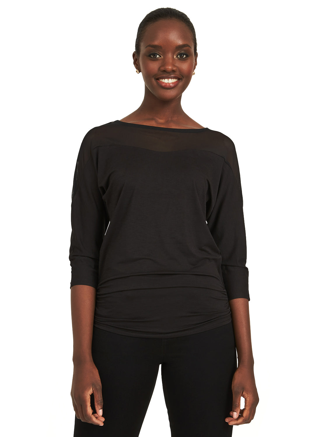 Dolman Sleeve Mesh Top