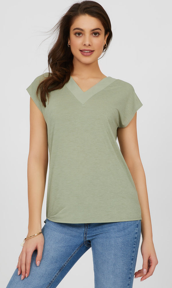Chiffon V-Neck Knit Top