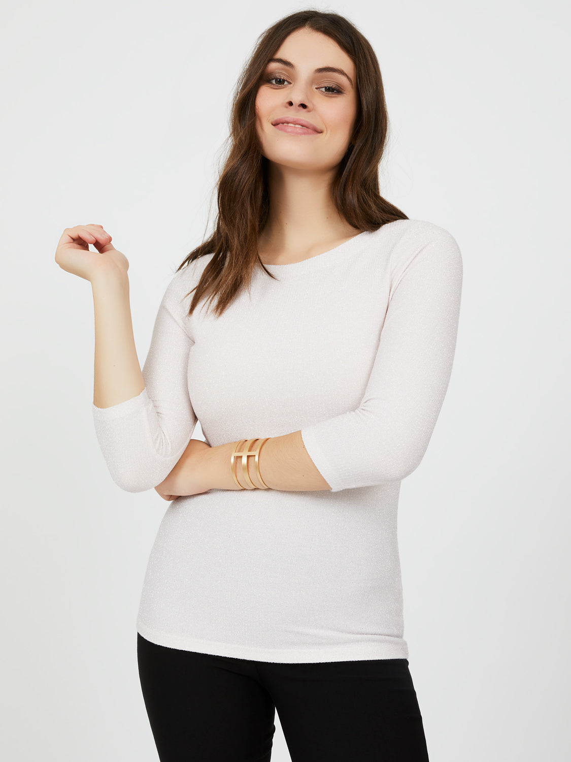 3/4 Sleeves Glitter Top