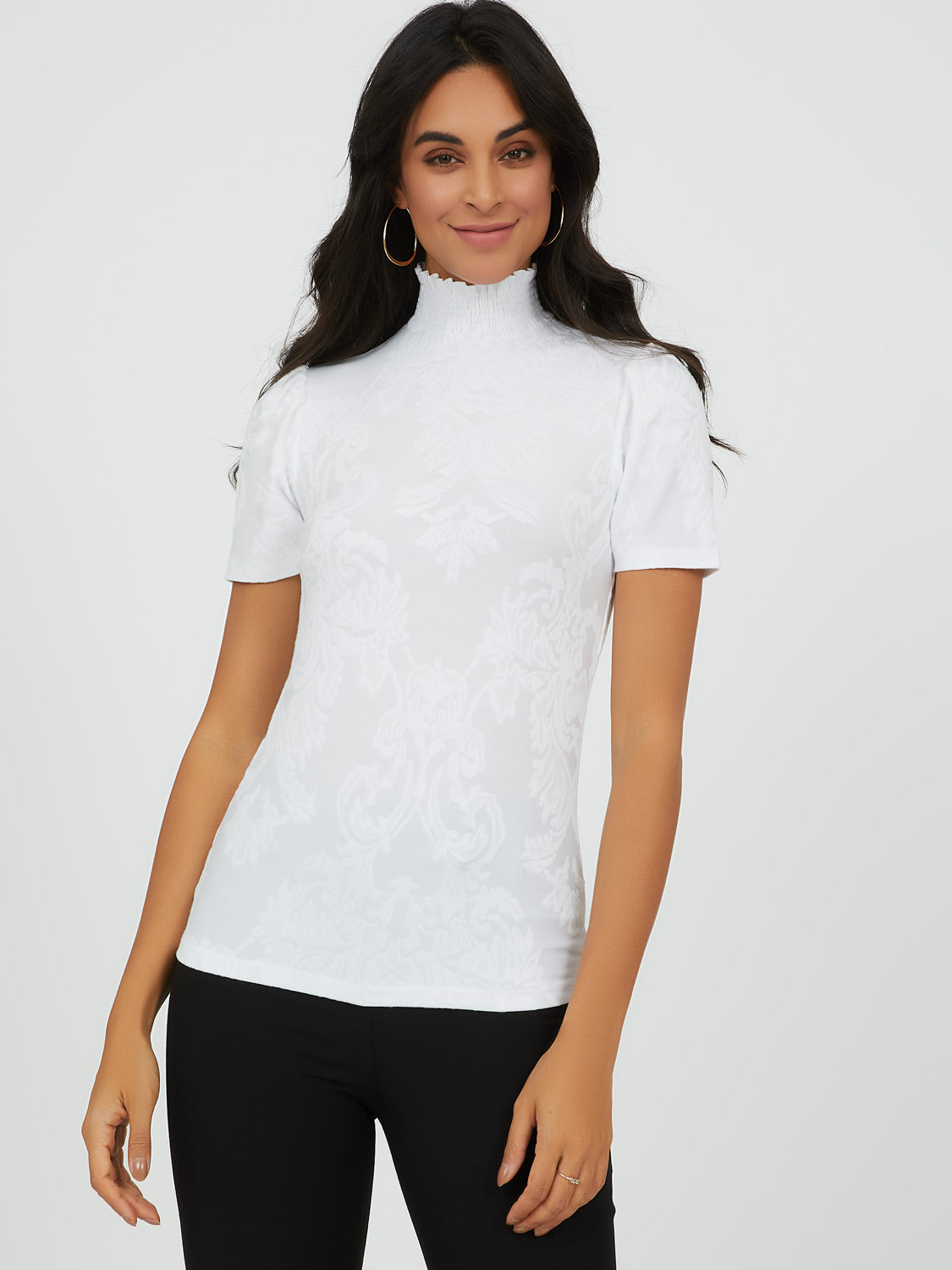 Short Puff Sleeve Mock Neck Jacquard Top