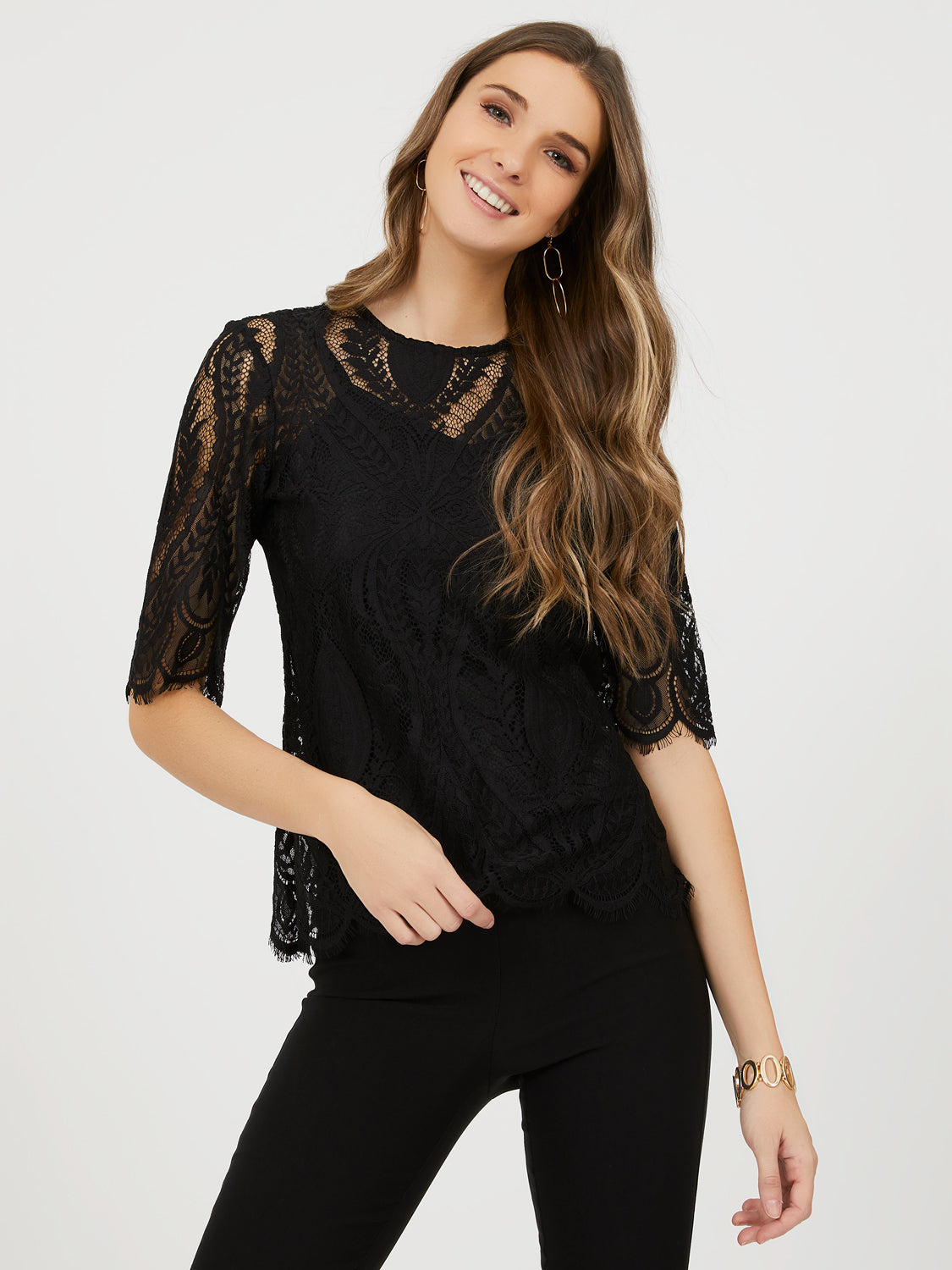Short Sleeve Lace Tee