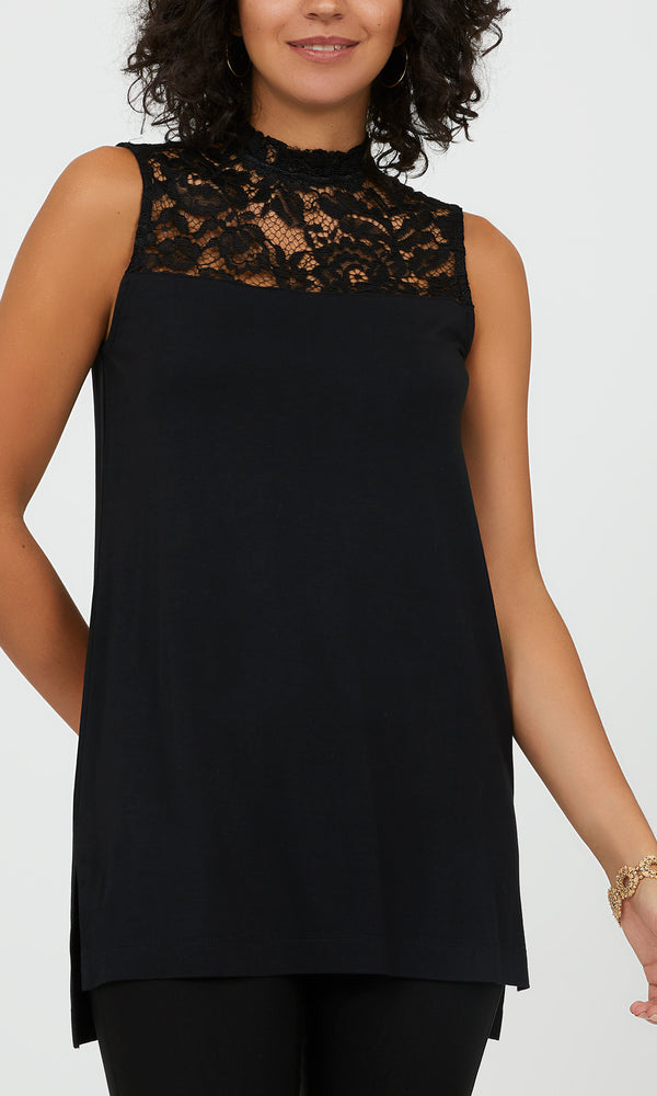 Sleeveless Mock Neck Lace Tunic