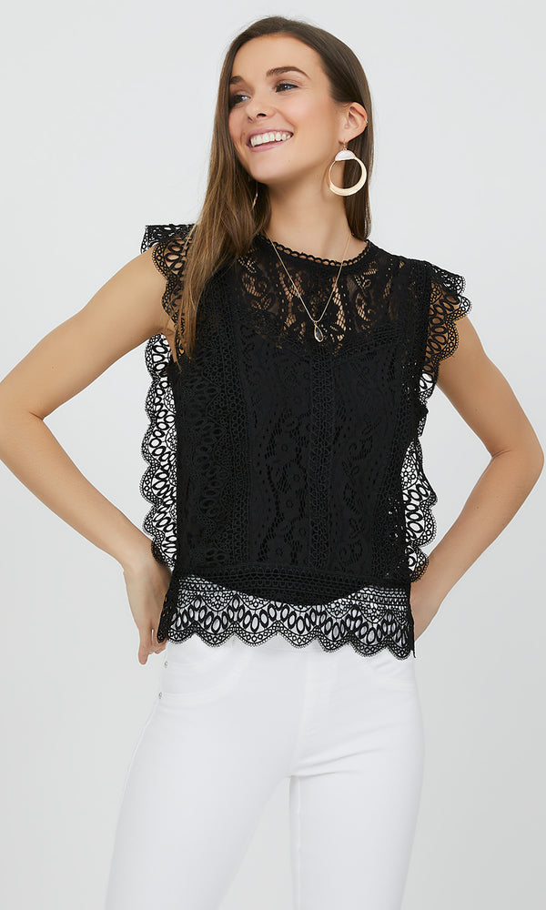 Sleeveless Lace & Crochet Top