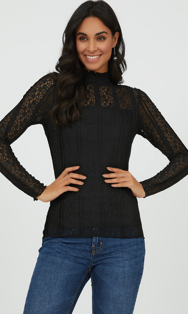 Smocked Mock Neck Lace Top