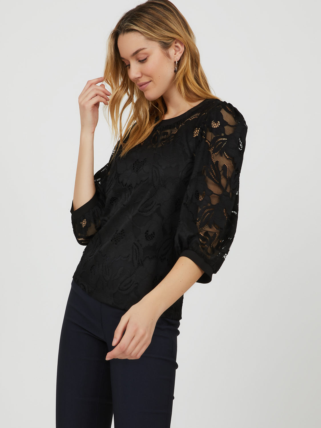 ¾ Puff Sleeve Stretch Lace Top