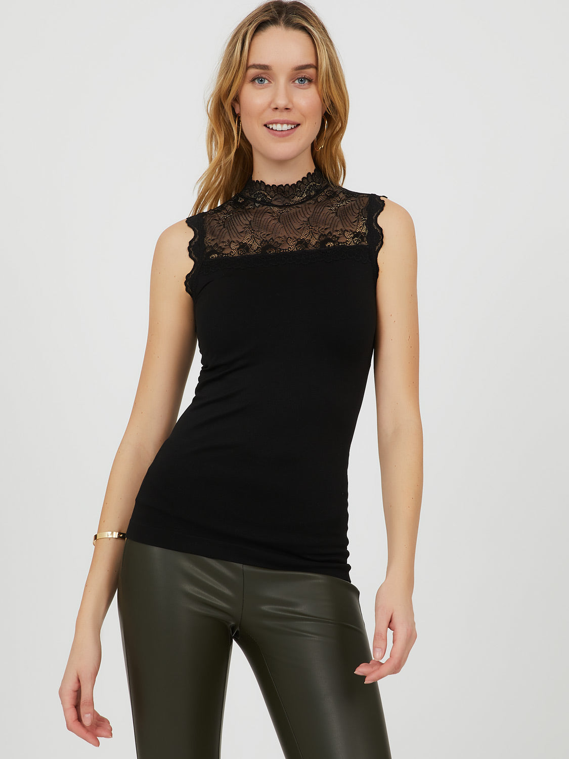 Sleeveless Lace Mock Neck Top