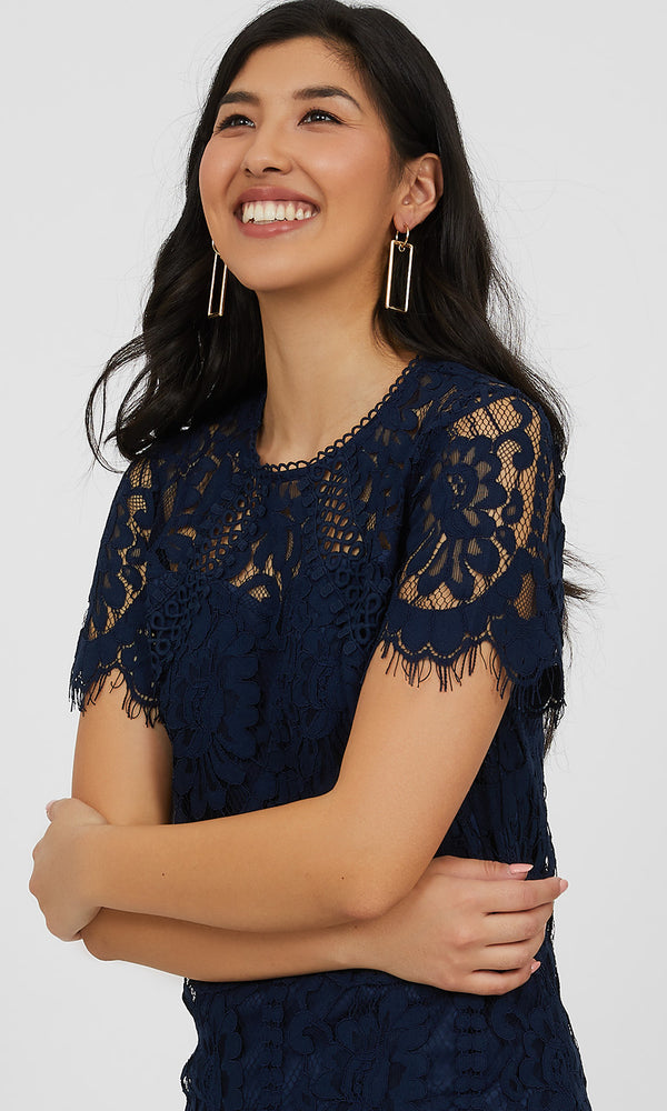 Short Sleeve Corded Lace Top