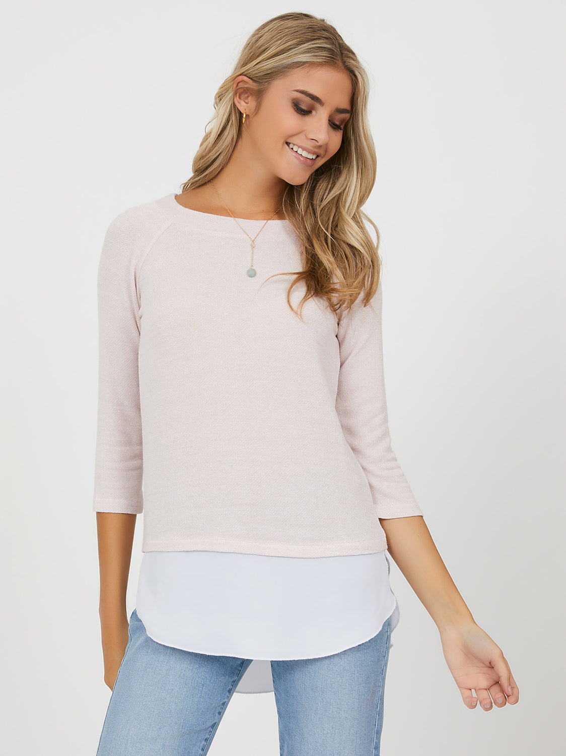 3/4 Sleeve Sweater Knit Chiffon 2fer Top