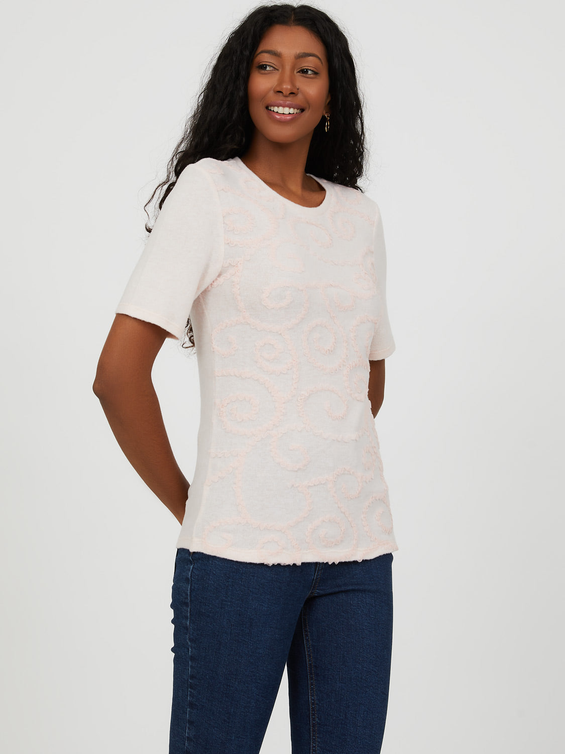 Short Sleeve Embroidered Knit Top