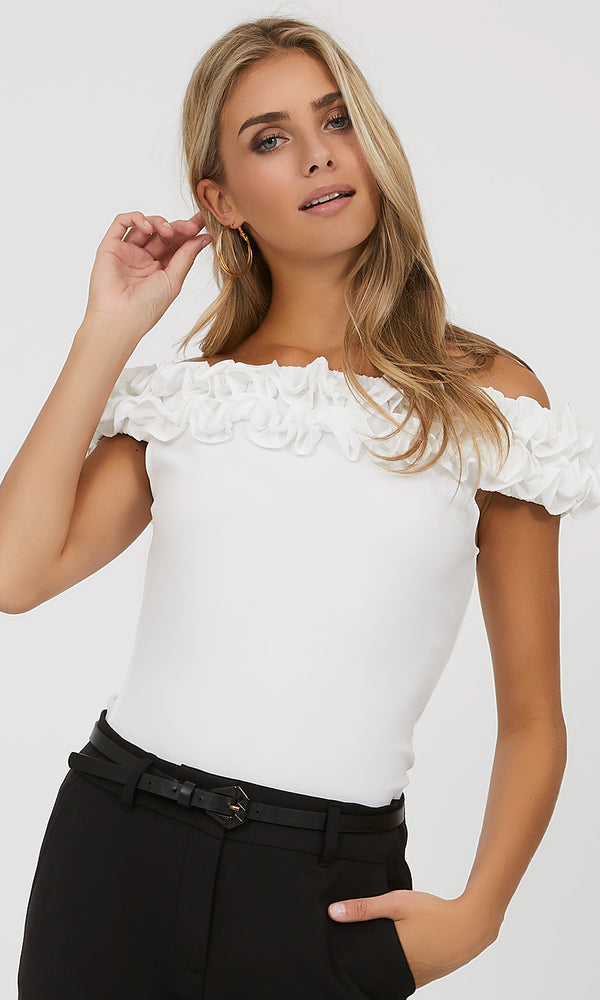 Ruffle Off-The-Shoulder Crepe Top
