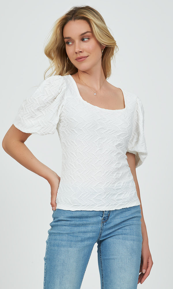 Jacquard Puff Sleeve Square Boat Top