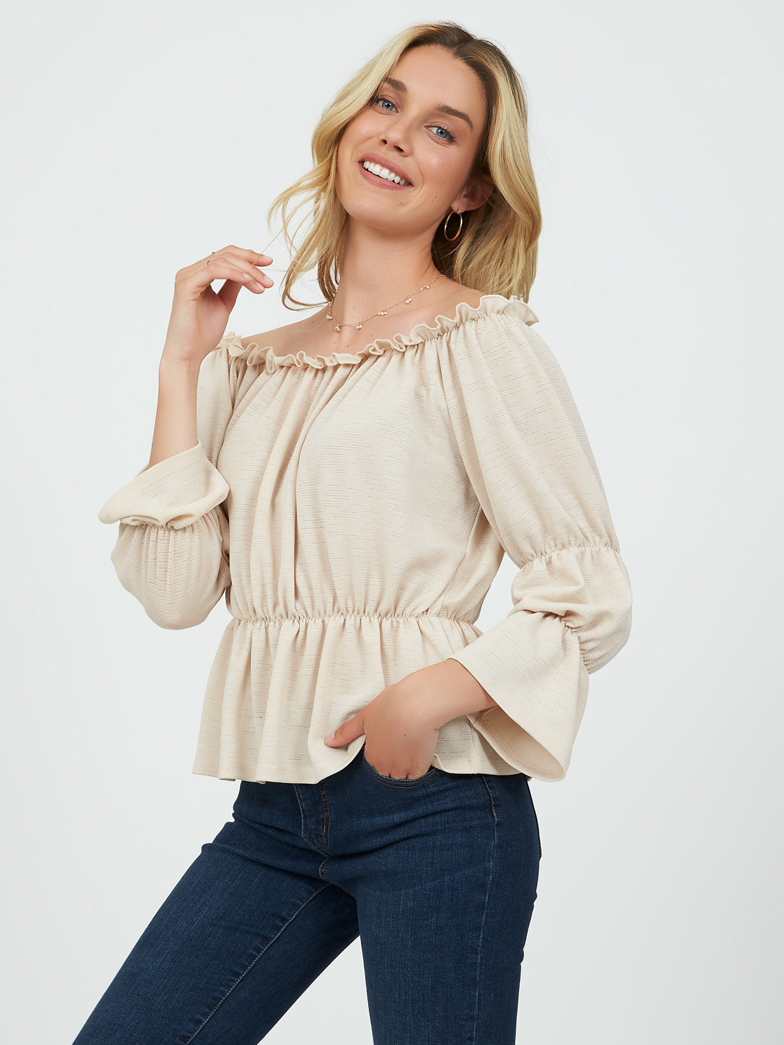 Off-the-Shoulder ¾ Flared Sleeve Peasant Blouse