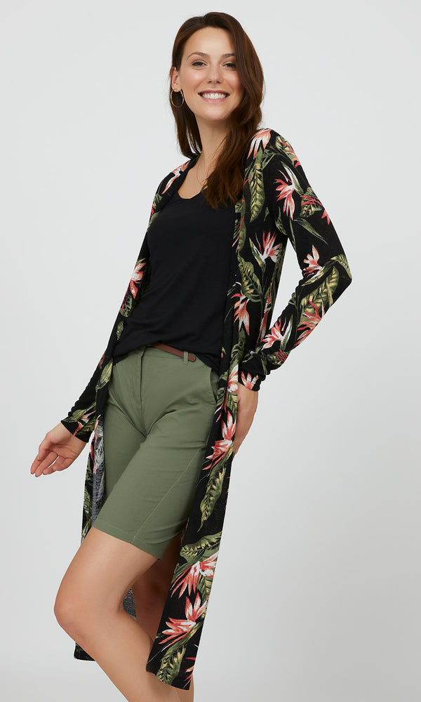Long Sleeve Midi Floral Cardigan