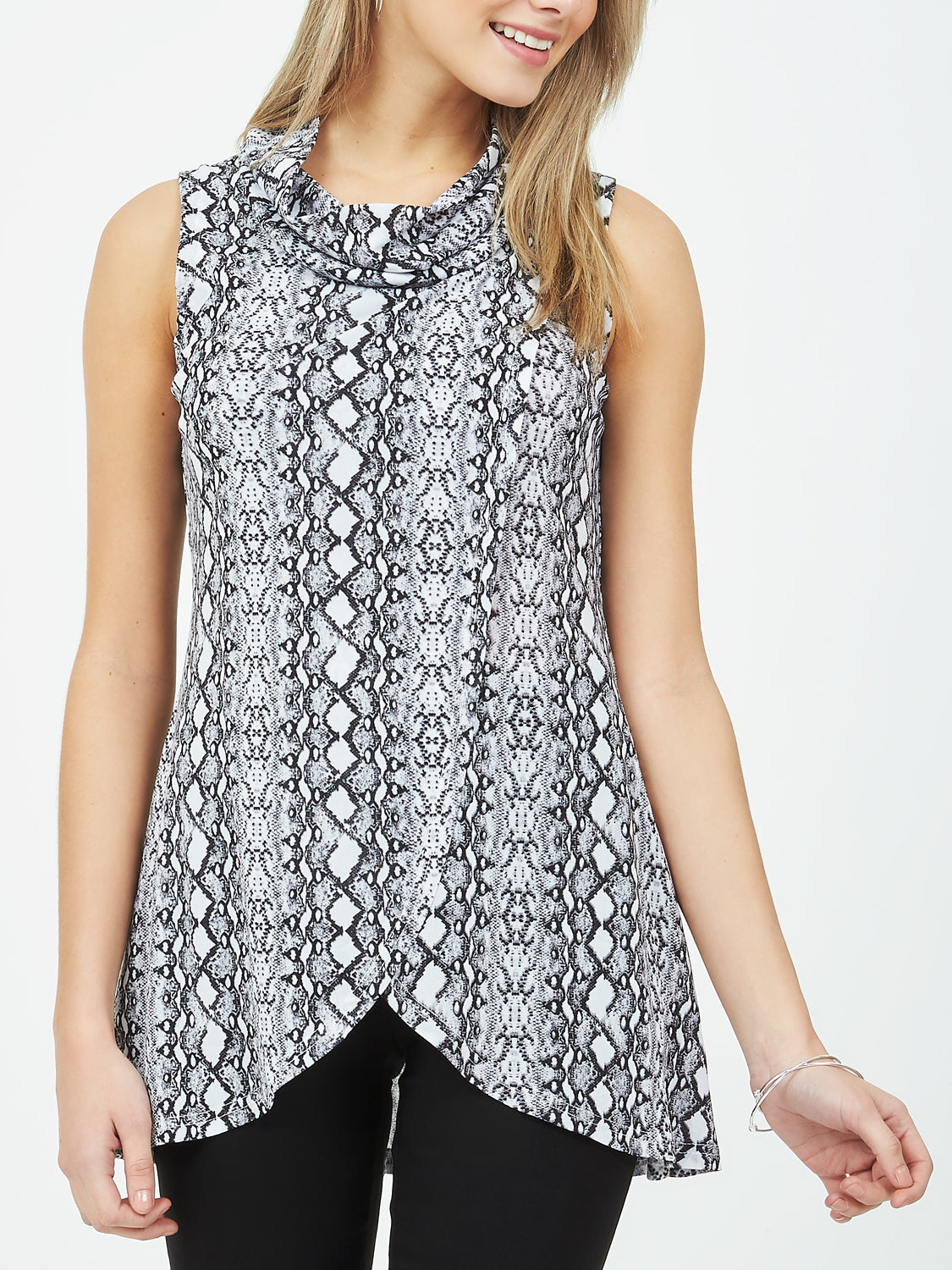 Sleeveless Printed Cowl Neck Top