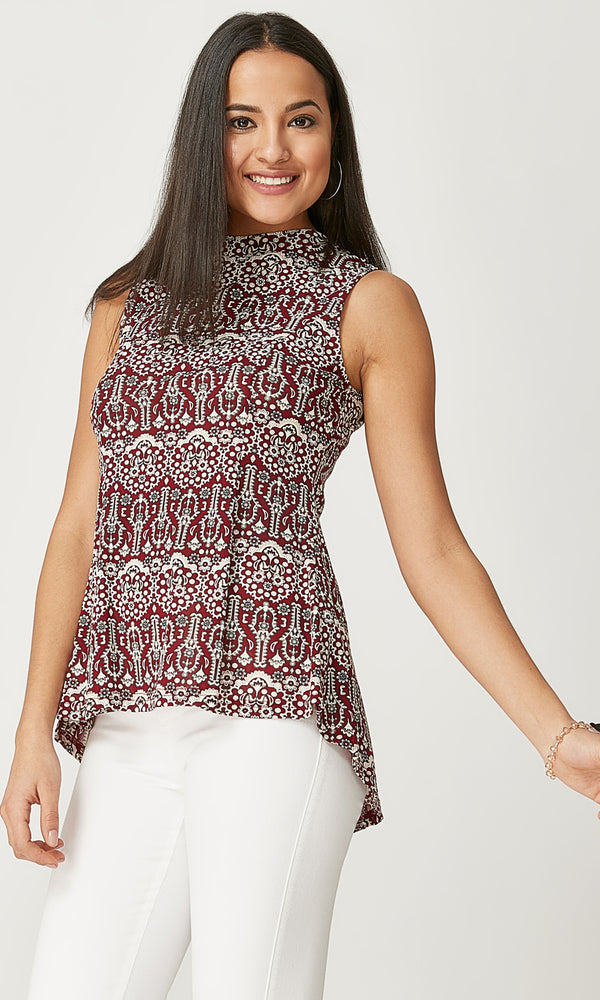 Printed Flared Sleeveless Top