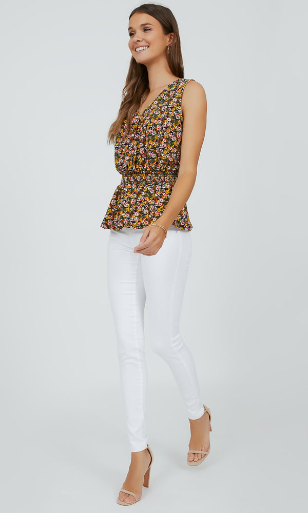 Sleeveless Ditsy Floral Eyelet Top