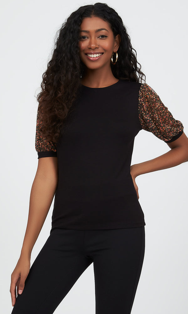 Printed Mesh Puff Sleeve Top