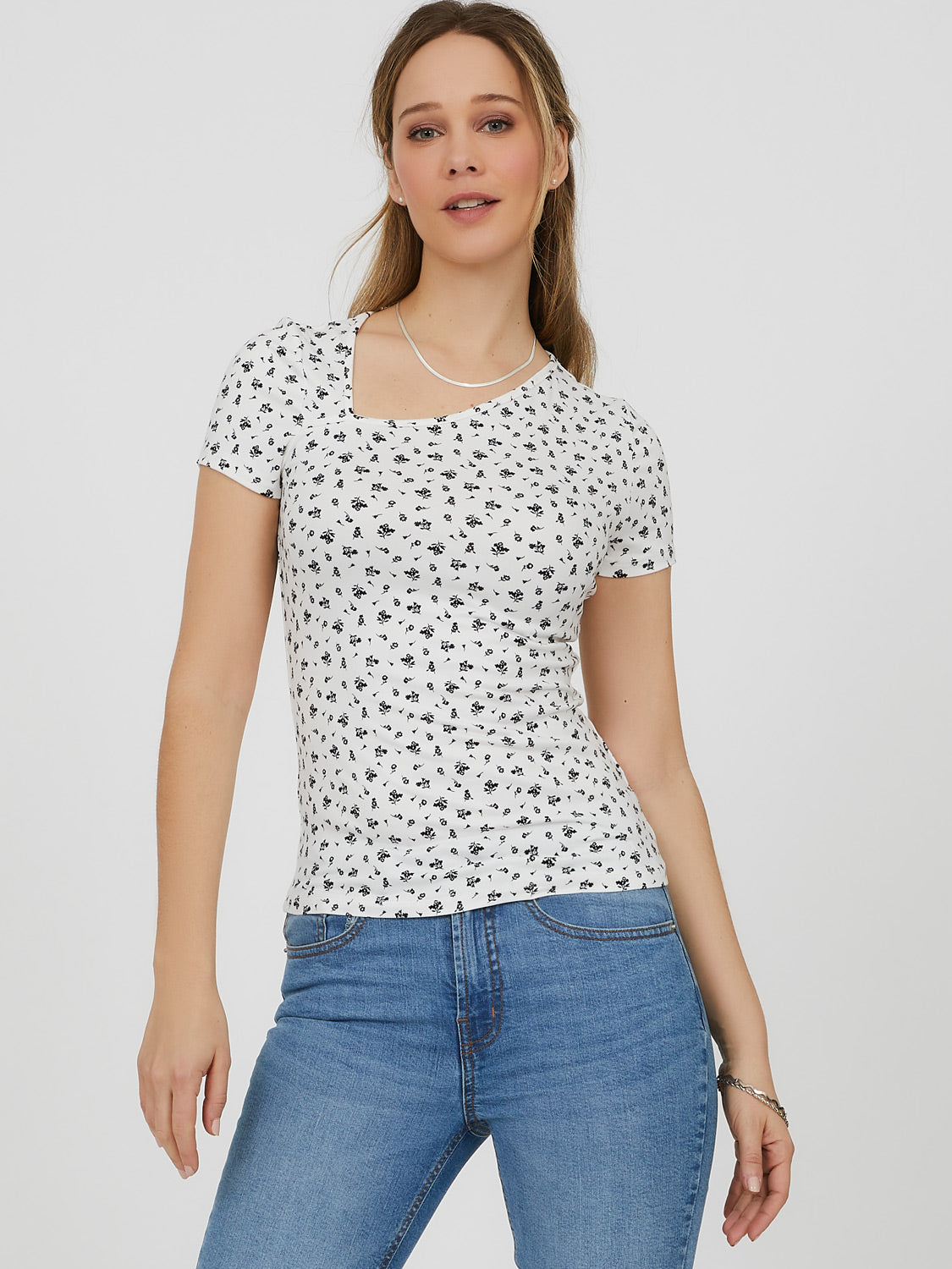 Asymmetrical Neck Ditsy Floral Top