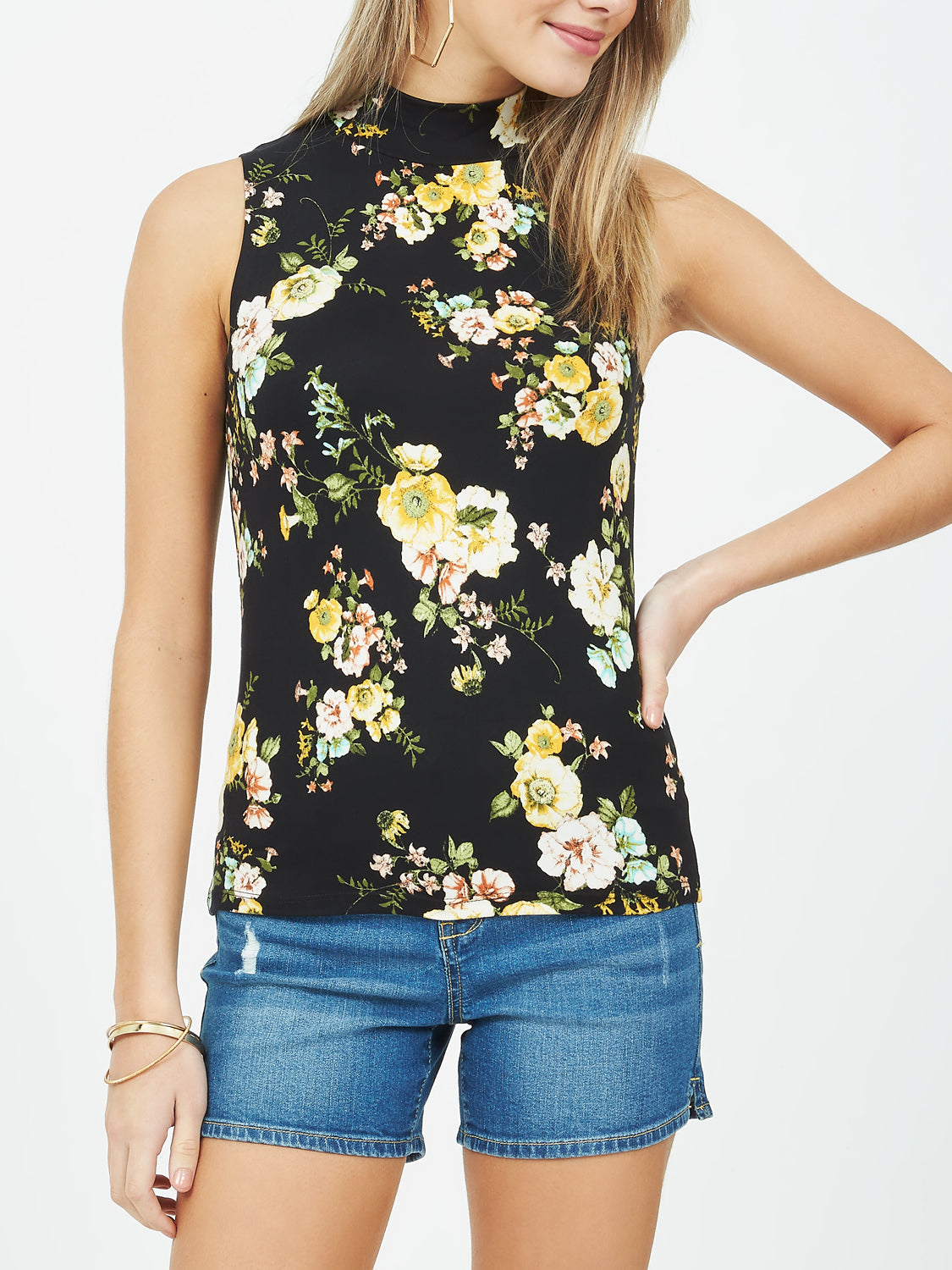 Sleeveless Printed Mock Neck Tank