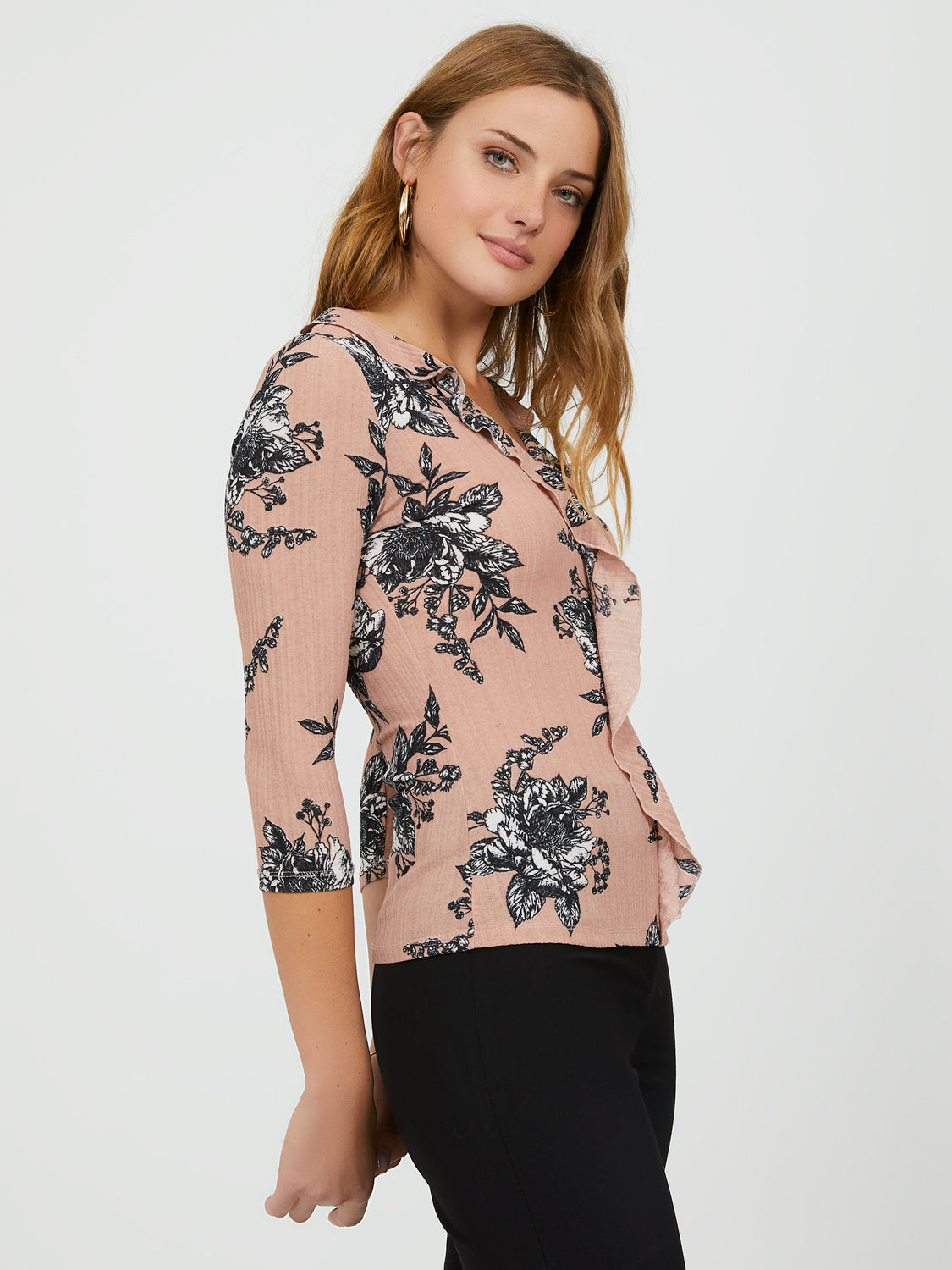 Floral Variegated Rib Knit Ruffle Top