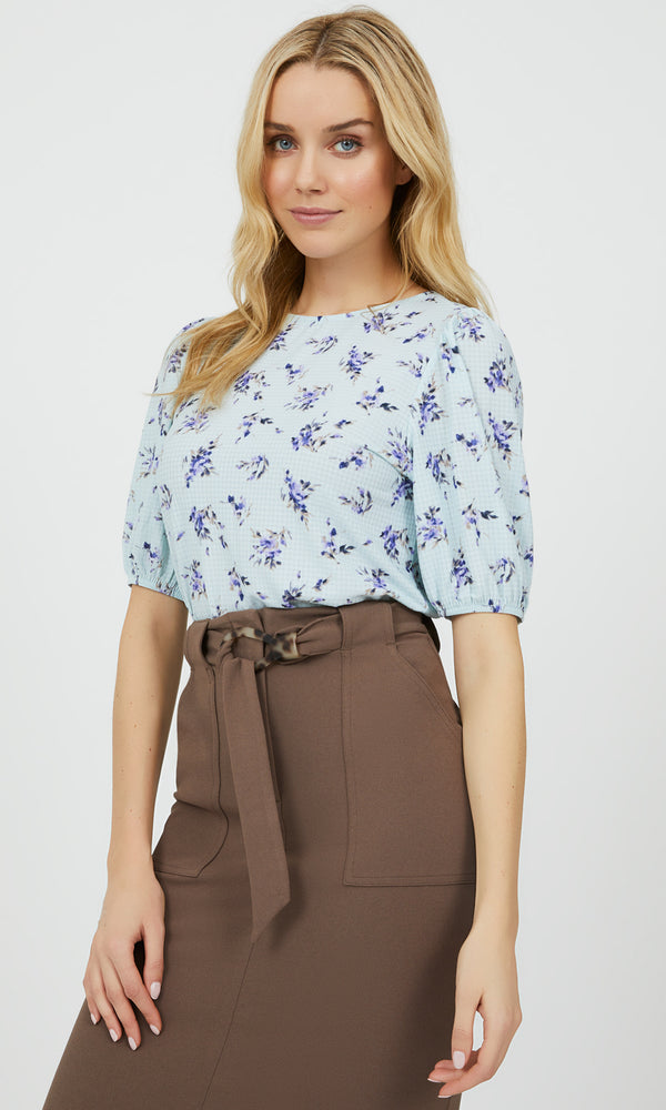¾ Balloon Sleeve Ditsy Floral Top