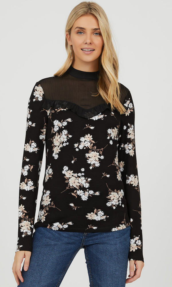 Ruffle Mock Neck Ditsy Floral Top